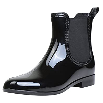 Womens Waterproof Rain Boots Pointed Toe Platform Elastic Band Slip On Autumn Winter Ankle Boots For Ladies