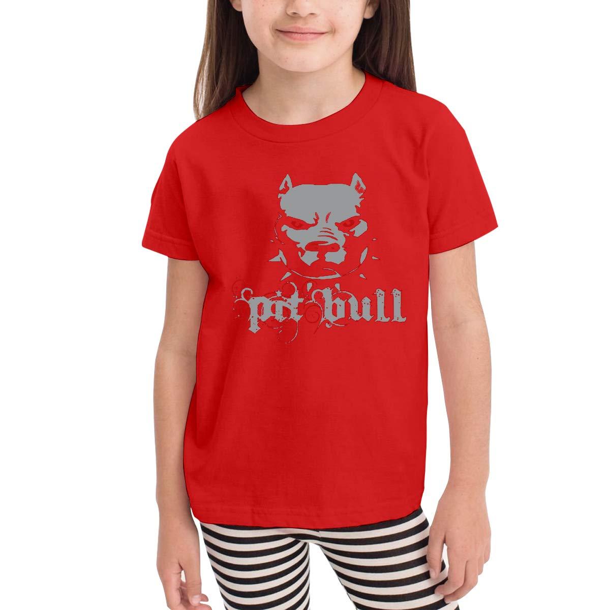 Kids T-Shirt Tops Black Cool Pitbull Unisex Youths Short Sleeve T-Shirt