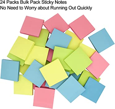 100 Sheets//Pad Daily Life 24 Pads Self-Stick Notes Sticky Notes 3x3 inch with Assorted Colors AWEI AZHI Super Sticky Notes Works Post Notes for Study