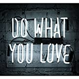 Neon Light Sign Do What You Love White 14'' x 9'' Beer Wall Signs Home Bar Pub Recreation Room Lights Party Gift Windows Garage Decor Lamp