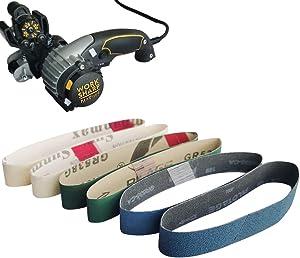 Tonmp 18 PCS Knife Sharpener Sanding Belts, 3/4 x 12 Inch Replacement Sander Belt Kit for Work Sharp Knife Ken Onion Edition Sharpener Tool (18 Pack)