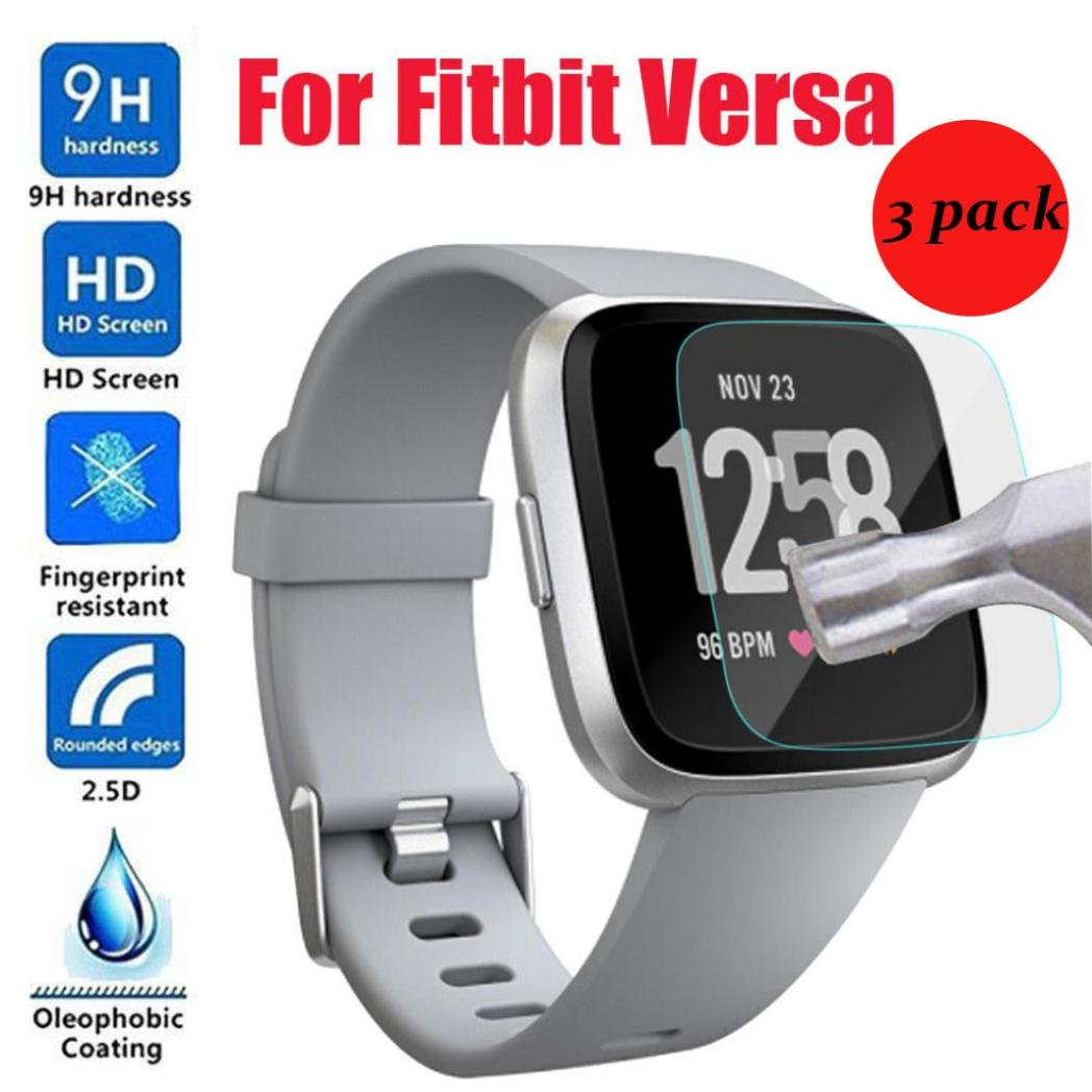 Sikye 3pcs 9H Tempered Glass LCD Screen Protector Anti-Shatter & Anti-Scratch Film for Fitbit Versa
