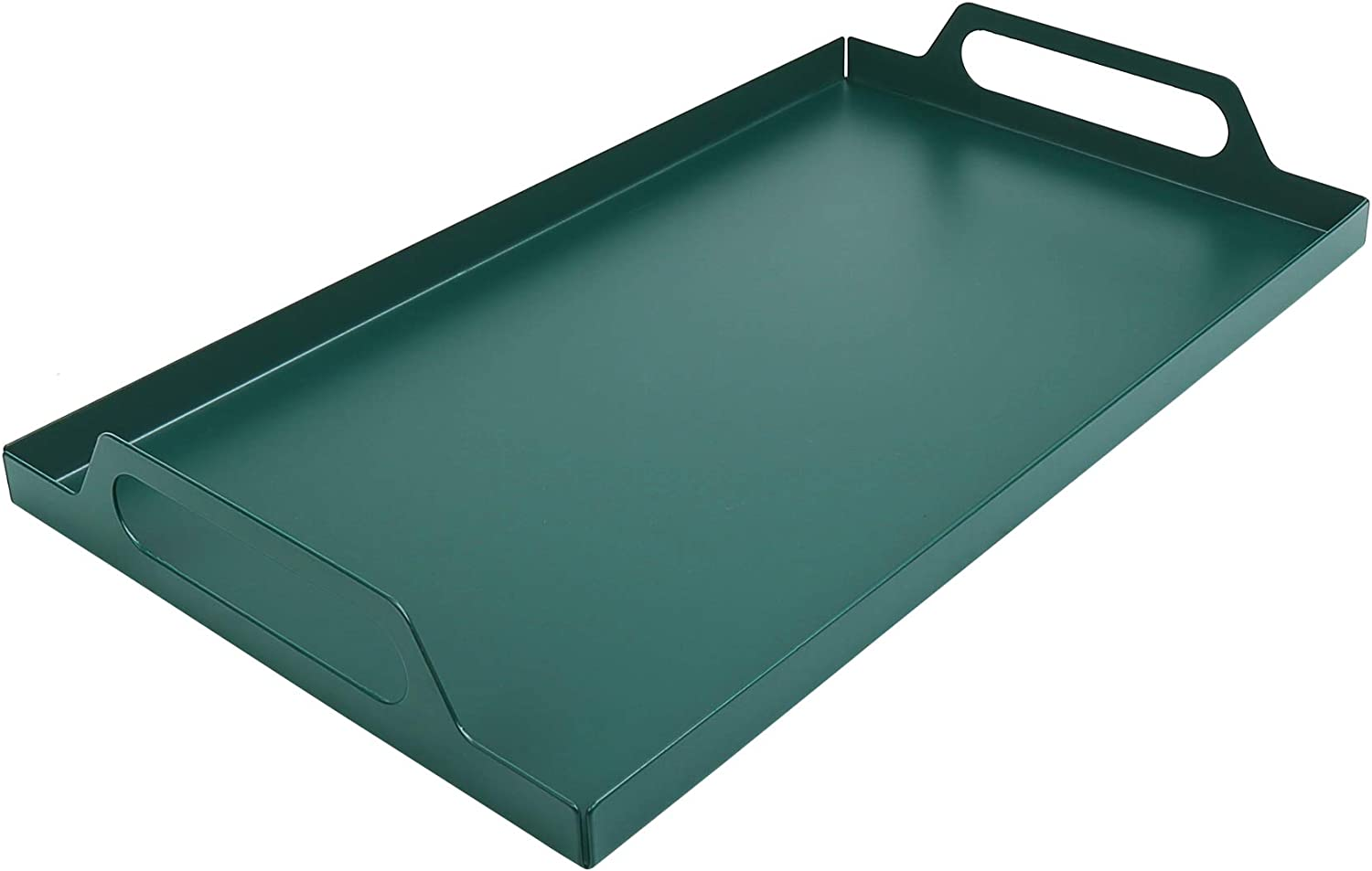 Beyoung Home Serving Tray with Handle Breakfast Food Holder Large ButlerTray Rectangle Metal Display Tray, Deluxe Tray for Coffee Table – an Ottoman Tray with Polished Metal Serving Trays - Green