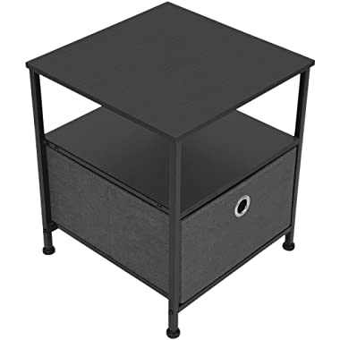 Sorbus Nightstand 1-Drawer Shelf Storage- Bedside Furniture & Accent End Table Chest for Home, Bedroom, Office, College Dorm, Steel Frame, Wood Top, Easy Pull Fabric Bins (Black/Charcoal)