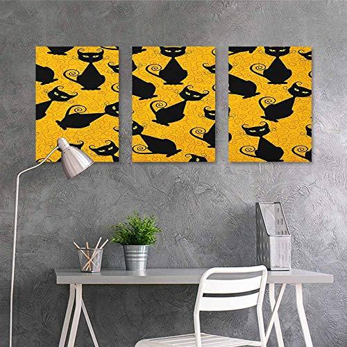 HOMEDD Sticker for Decoration,Vintage Black Cat Pattern for Halloween on Orange Background Celebration Graphic Patterns,A for Your Relatives and Friends 3 Panels,24x47inchx3pcs Black Orange]()