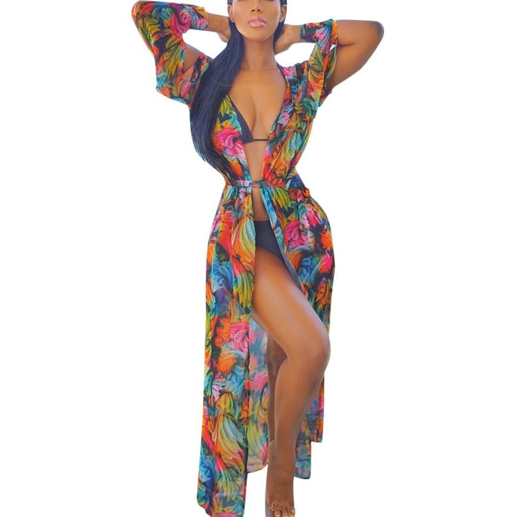 Clemunn Womens Chiffon Beach Maxi Dress Swimwear Covers up, Women Summer Lace Crochet Bikini Cover up Swimwear Bathing Suit Beach Dress