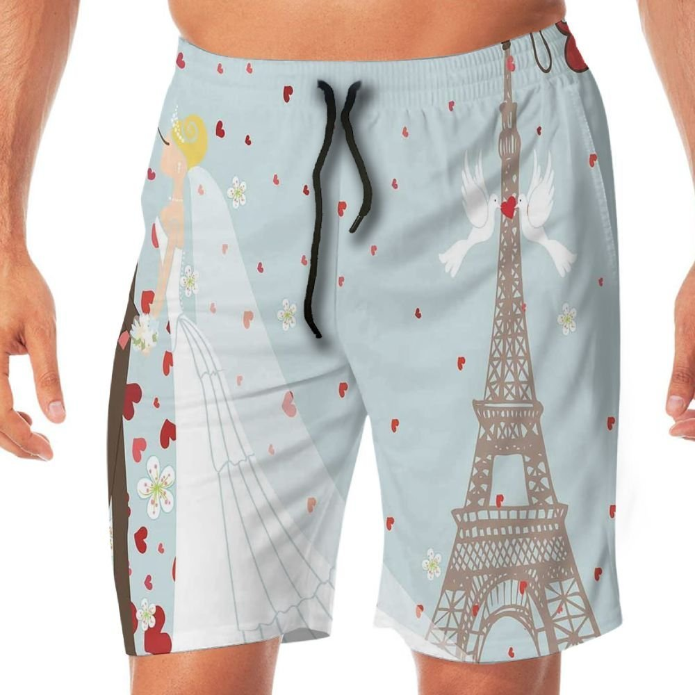 Haixia Men's Funny Swimming Trunks Wedding Decorations French Couple Hand Drawn