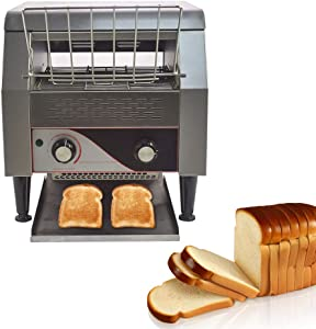 Commercial Conveyor Toaster, 300PCS/Hour 2200W 110V Bulit with Heavy Duty Stainless Steel Toaster for Restaurant Equipment For Bread Bagel Breakfast Food