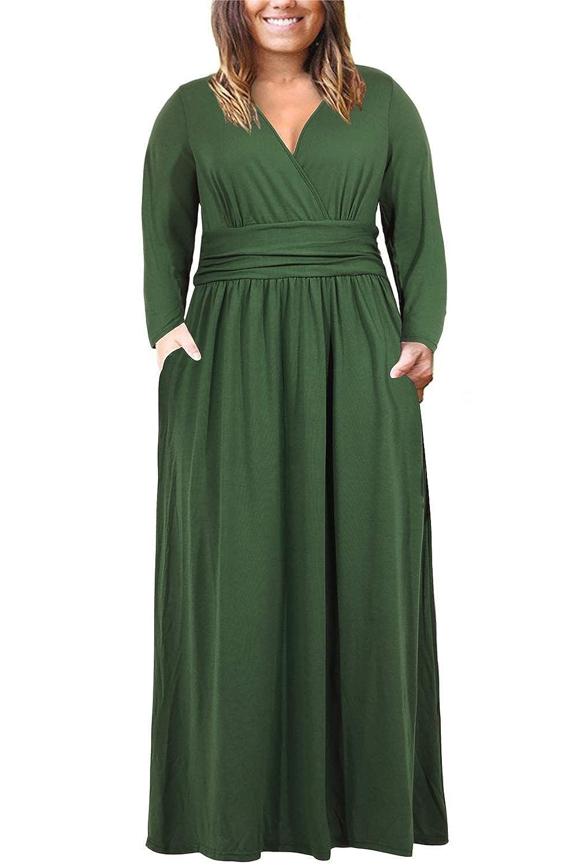 3d57de5a96e Nemidor Women s Long Sleeve V-Neck Wrap Waist Plus Size Casual Maxi Dress  with Pocket at Amazon Women s Clothing store