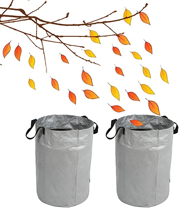 Flymer 26 Gallons Collapsible Yard Waste Bags, 2-Pack Reusable Leaf Bags, Sturdy Garden Tools for Sticks Leaves Debris Weeds Collecting