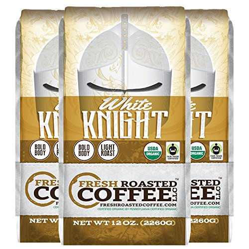 Organic White Knight Light Roast Coffee, 12 oz. Ground Bags, Artisan Blend, Fair Trade, Fresh Roasted Coffee LLC. (3 Pack - Ground)