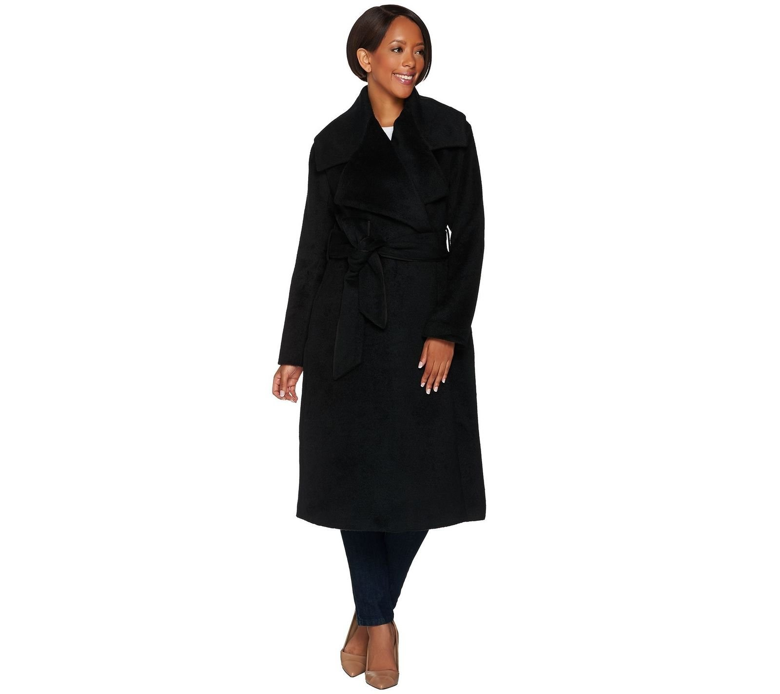 G.I.L.I. Gili Classic Style Notch Collar Belted Trench Coat Noir Black 18W New A279810