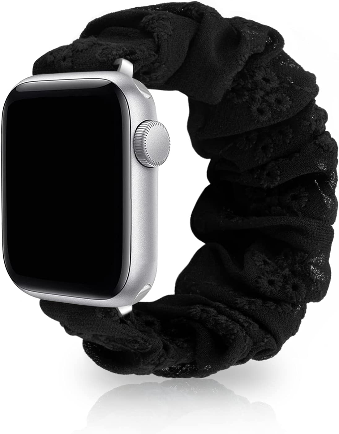 SAMYERLEN Compatible with Scrunchie Apple Watch Band 38mm 42mm 40mm 44mm for Women, Embroidery Elastic Watch Strap for iWatch Series SE 6 5 4 3 2 1, Cute Wristbands (S-38/40 Black)
