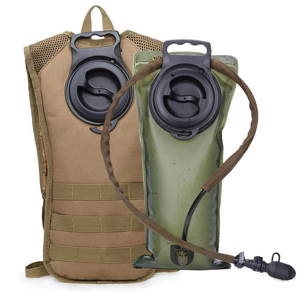 AIMILL Military Leak-Proof Hydration Pack Reservoir Water Bladder Daypack Camel Backpack (Tan Khaki, 2.5-3L (84-100oz)) by AIMILL