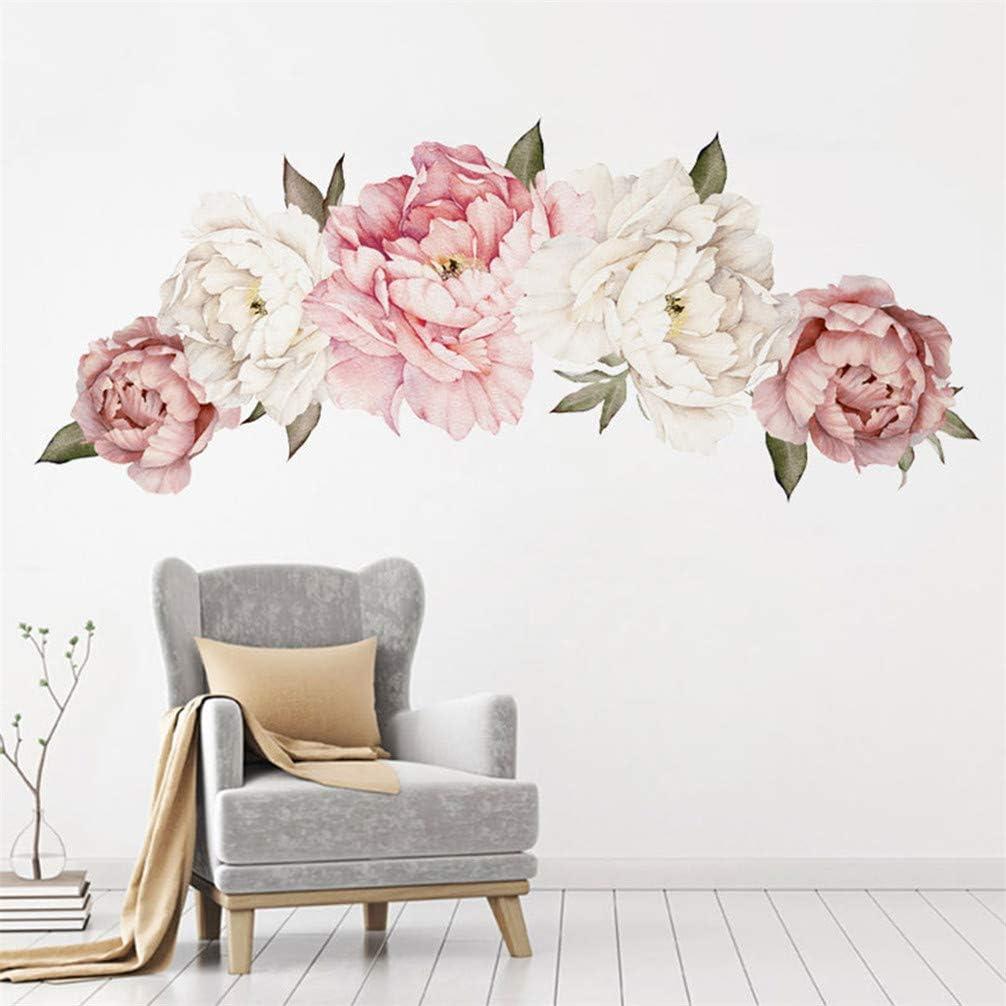 Toporchid Creative Pivoine Fleurs Stickers Muraux Fleurs Stickers Muraux pour Salon Chambre Cuisine D/écorations