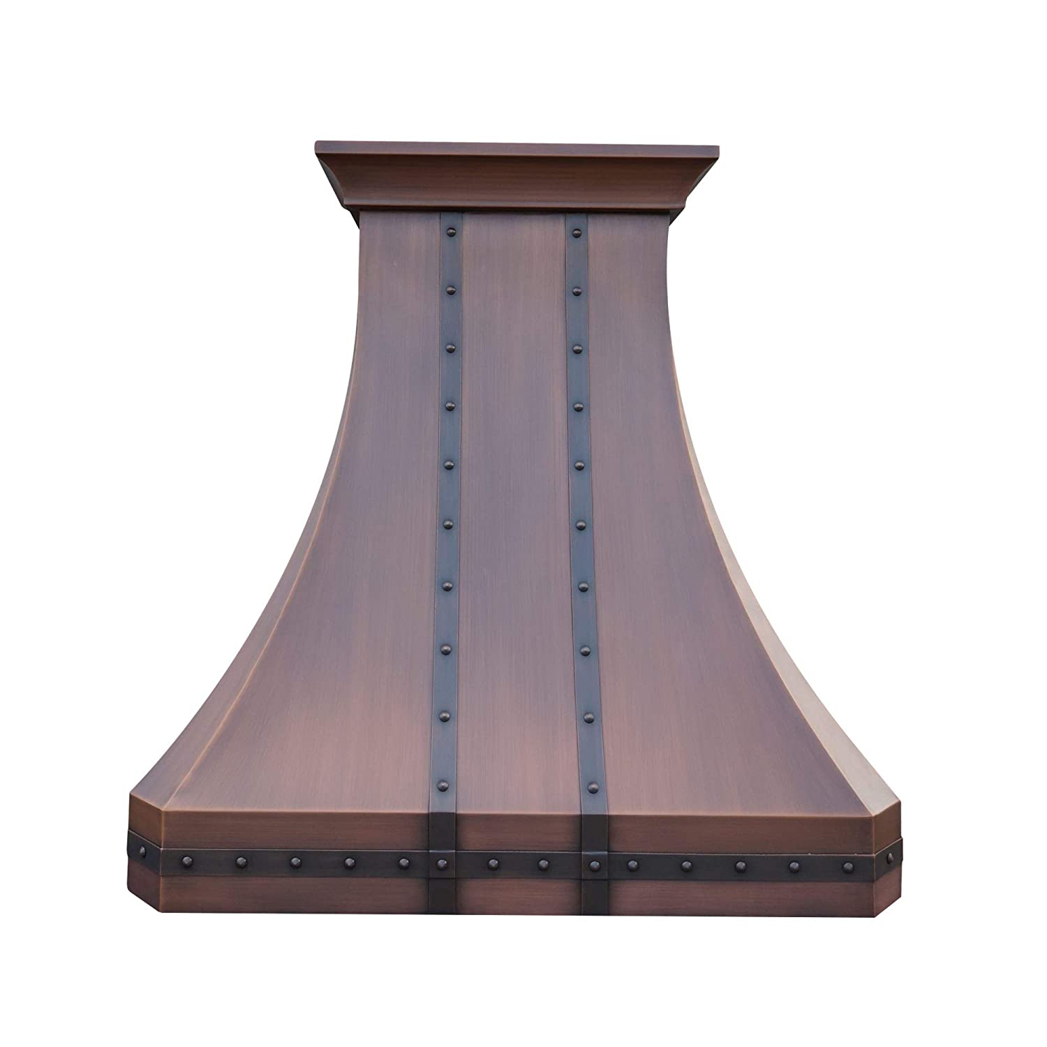 Traditional Copper Kitchen Oven Hood with Professional Range Hood Insert Antique Copper Classic Design Decorative Crown Straps and Rivets Handmade by Sinda, H30STRCW4848