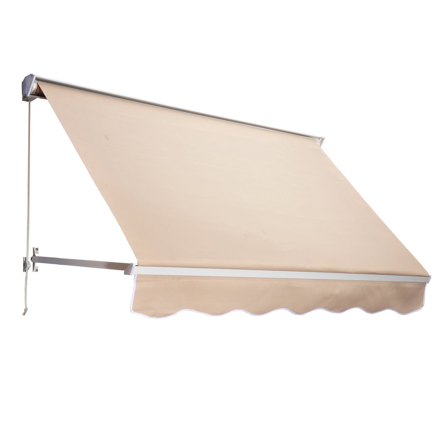 Outsunny 6ft Drop Arm Manual Retractable Window Awning Patio ...