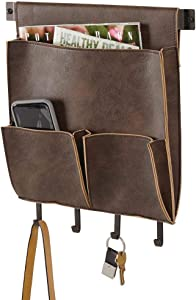 "mDesign Decorative Wall Mount Soft Leather Hanging Storage Organizer - Mail Sorter, Letter Holder, Key Rack - for Entryway, Bedroom, Home Office, Dorm Room - 3 Pockets, 4 Hooks, 12.5"" Wide - Brown"