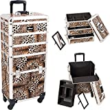 Sunrise I3361LPBR Leopard 4 Wheels Professional Rolling Aluminum Cosmetic Makeup Craft Storage Organizer Case and Stackable Trays with Dividers