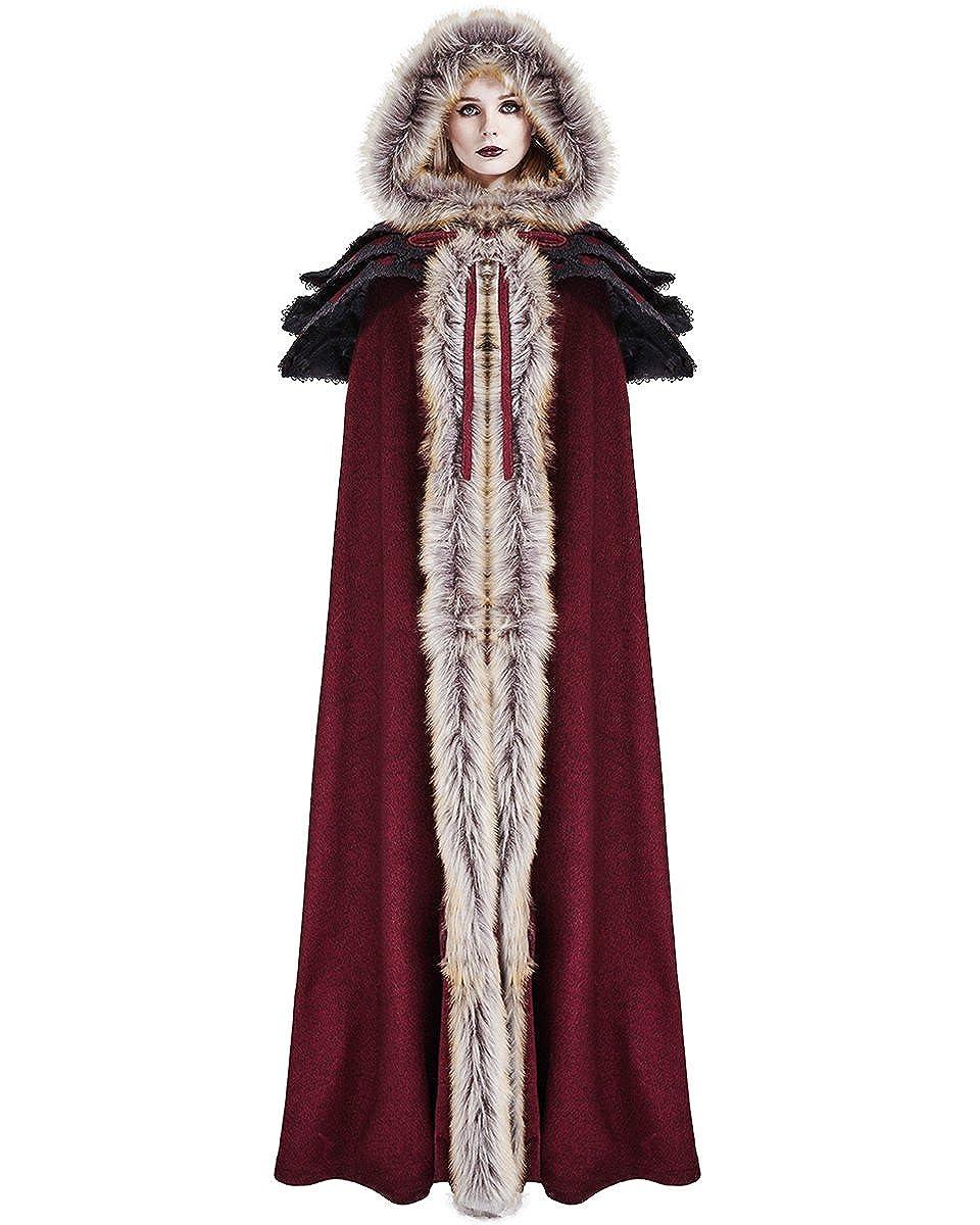 6bab1f5ce7865e Punk Rave Womens Cloak Coat Jacket Red Fux Fur Gothic Steampunk VTG Regency:  Amazon.co.uk: Clothing