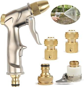 TIMESETL Pistola rociadora de Manguera de jardín Alta presión con Boquilla de Bronce Completa rociador Manual para Lavar/regar césped y jardín (con 4 x Conector de Cobre): Amazon.es: Electrónica
