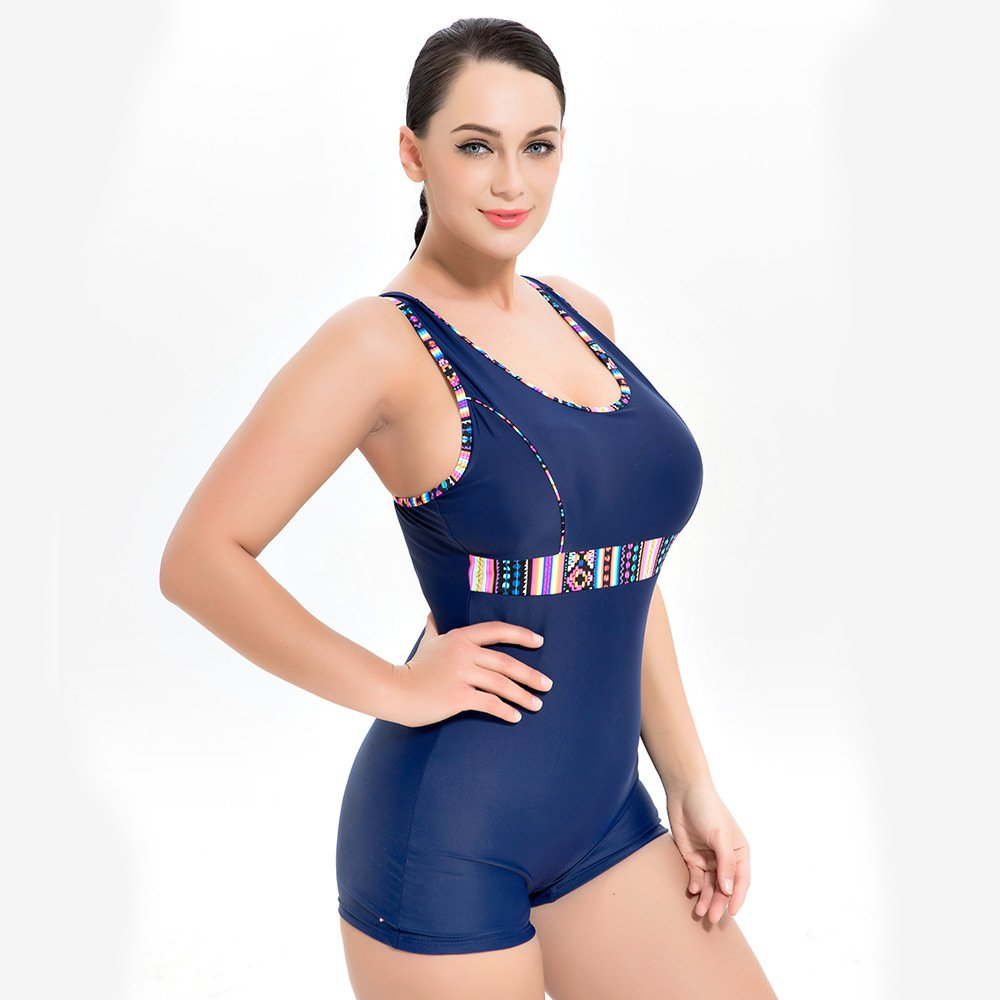 48 LXKDYYY Sports Swimsuit Ladies Size Strapless Shoulder Conjoined Conservative Cover Slimming Swimsuit 1700
