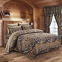 The Woods Natural Green Camouflage Full 8pc Premium Luxury Comforter, Sheet, Pillowcases, and Bed Skirt Set by Regal Comfort Camo Bedding Set For Hunters Cabin or Rustic Lodge Teens Boys and Girls by Regal Comfort