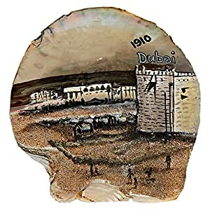 Seashell Souvenirs Natural Oyster Shell With Painted Heritage Scene For Al Fahidi Fort In Dubai