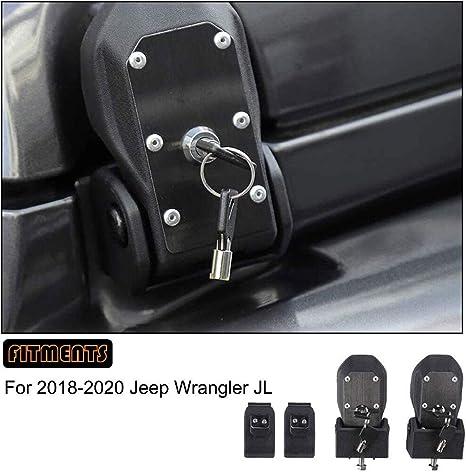 Junonne 4pcs Compatible with 18-20 Jeep Wrangler JL Blk Hood Latches Lock Catch Cover Trim w//lock