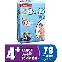 Sanita Bambi Baby Diapers Mega Pack Size 4+, Large plus, 10-18 KG, 78 Count