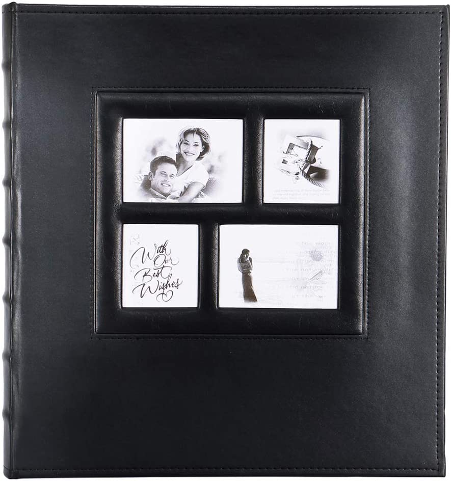 Artmag Photo Album 4x6 600 Photos, Large Capacity Wedding Family Leather Cover Picture Albums Holds 600 Horizontal and Vertical 4x6 Photos with Black Pages (Black)
