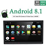 """10.1"""" Universal Upgraded Android 7.1 2GB-RAM Car Stereo Head Unit 2 Din Car GPS Navigation Touch Screen 1080P Video Music Car Radio Audio System with Mirrorlink WiFi USB Support DVR OBD2"""