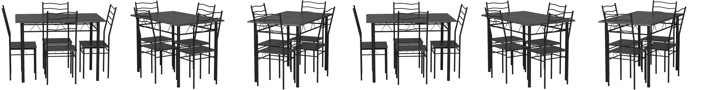 VS Venta-stock Set Tavolo e 4 sedie da Pranzo Lima Rovere//Grigio Struttura in Metallo Tavolo 110 cm x 70 cm x 76 cm