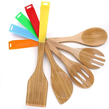 COOKSMARK 5 Piece Bamboo Wood Nonstick Cooking Utensils - Wooden Spoons and Spatula Utensil Set with Multicolored Silicone Handles in Red Yellow Green Orange Blue