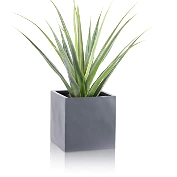 Pflanzkübel CUBO Fiberglas Pflanztopf - Farbe: grau matt - robuster ...