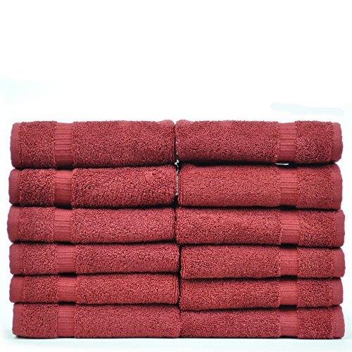 Luxury Hotel & Spa Towel Turkish Cotton (Wash Cloth - Set of 12, Cranberry)