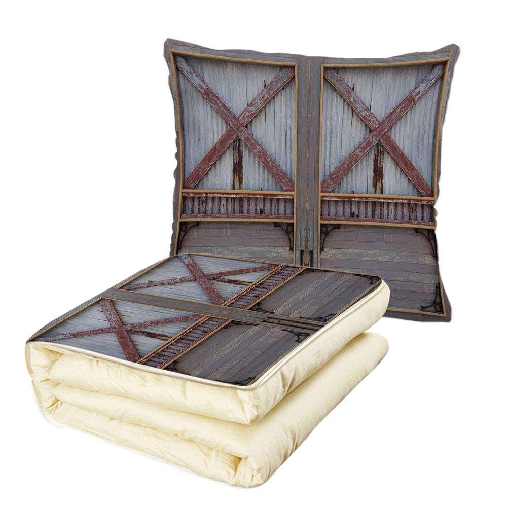 iPrint Quilt Dual-Use Pillow Industrial Zinc Style Wooden Gate Image Street Construction Window Covered with Plank Image Decorative Multifunctional Air-Conditioning Quilt Brown Grey