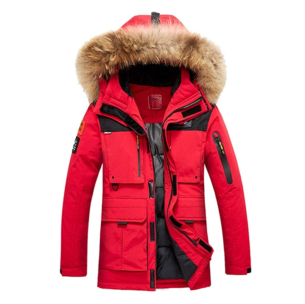 Allywit-Mens Winter Snow Puffer Coats Fur Hooded Thick Cotton-Padded Quilted Warm Down Jacket Plus Size