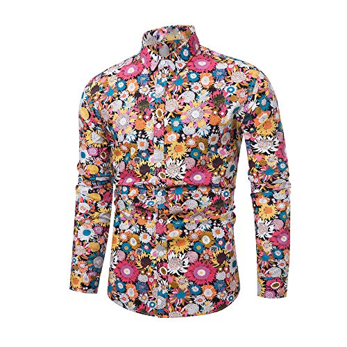 WULFUL Men's Floral Printed Dress Shirt Paisley Causal Party Long Sleeve Button Down Shirts