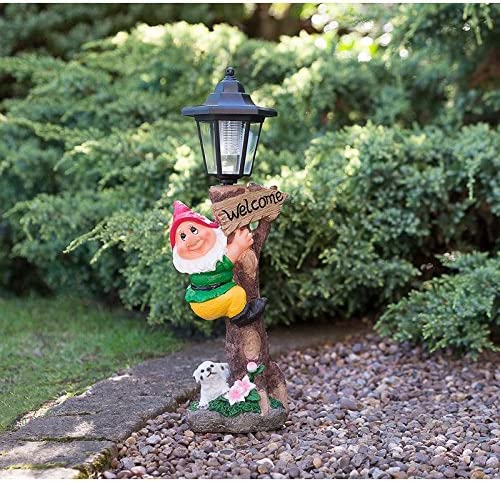 Marca nueva gnomo de jardín con lámpara solar Post, rosso: Amazon.es: Jardín