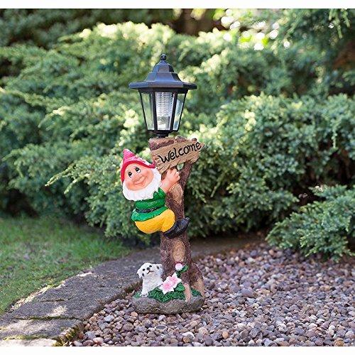 Brand New Garden Gnome With Solar Lamp Post (Orange) Choicefullbargain