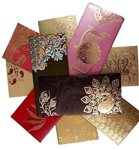 Shagun Gift Envelope (Pack of 10+2 Free) Assorted Color Designs Money Holder Card Fancy Packet for Christmas Diwali Easter Birthday Wedding Anniversary Designer Invitation Envelopes (Best Indian Wedding Cards)