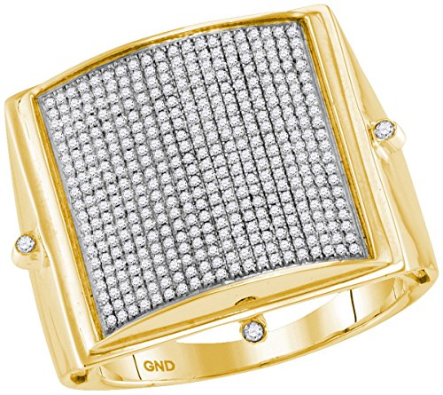 Pave Set Dome Ring (10kt Yellow Gold Mens Round Pave-set Diamond Square Dome Cluster Ring 7/8 Cttw (I2-I3 clarity; J-K color))