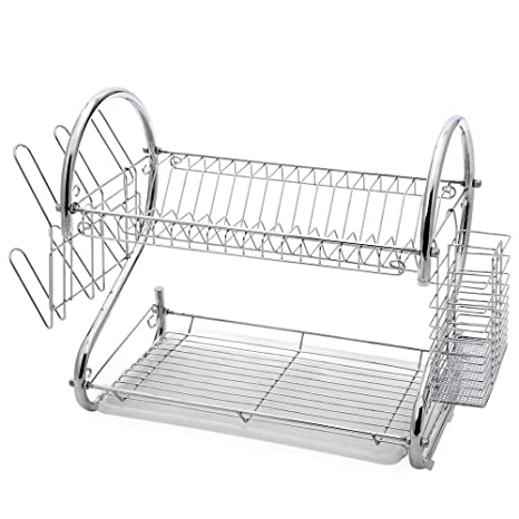 Juvale 2-Tier Dish Drying Rack – Dish Drainer, Chrome Plating Dish Rack,  Includes Utensil Holder, and Drain Board, Silver 17 x 9 25 x 10 5 Inches