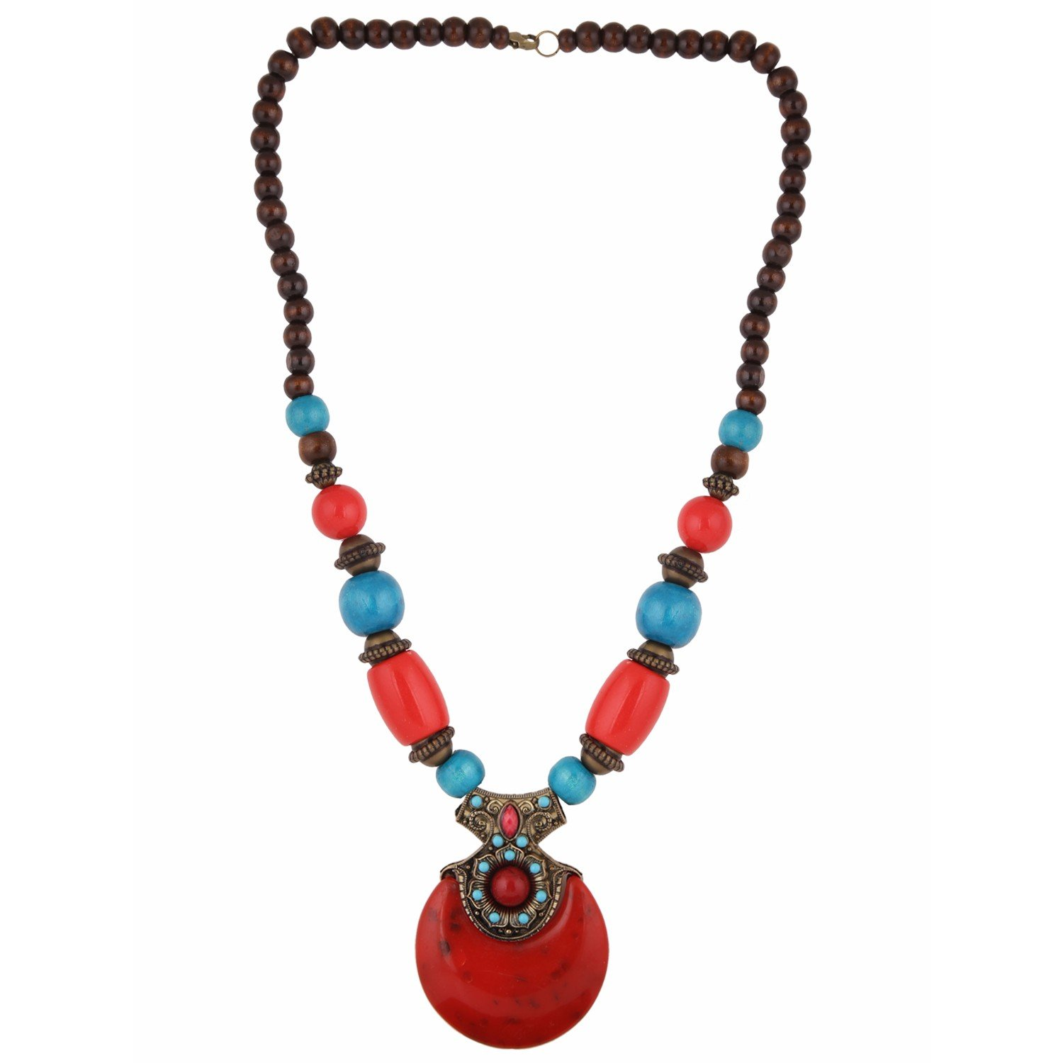Efulgenz Handcrafted Round Chunky Antique Beaded Statement Necklace Fashion Costume Accessories for Women and Girls