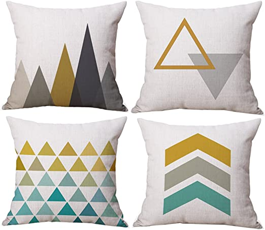4Pcs Black/&White Geometric Throw Cover Pillow Cushion Square Case Decor Dazzling