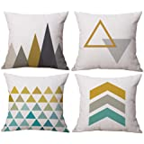 Modern Simple Geometric Style Cotton & Linen Decor Throw Pillow Covers, 18 x 18 Inches, Pack of 4 (Yellow)