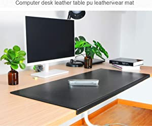 "Non-Slip Soft Leather Surface Office Desk Mouse Mat Pad with Full Grip Fixation Lip Table Blotter Protector 27.55""x 15.8"" Leather Pad Edge-Locked"