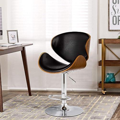 GentleShower Bent Wood Barstool, Adjustable Height Swivel PU Leather Adjustable Barstools Chrome Swivel Stool Chairs with Curved Backrest Footrest