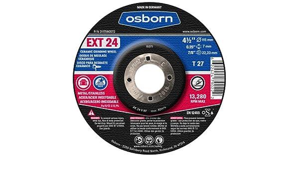 Amazon.com: Osborn 3117560572 - Type 27 - EXT Series Grinding Wheel - Grit Number: 24, Wheel Diameter: 4-1/2 in: Home Improvement